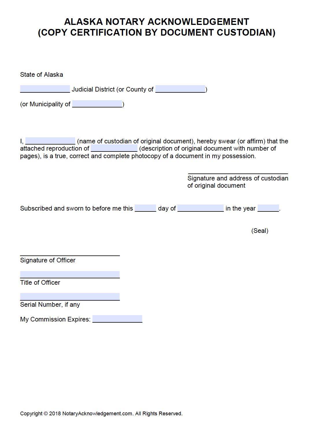 document copy certification custodian alaska certificate notarial pdf notary acknowledgement word ak downloads