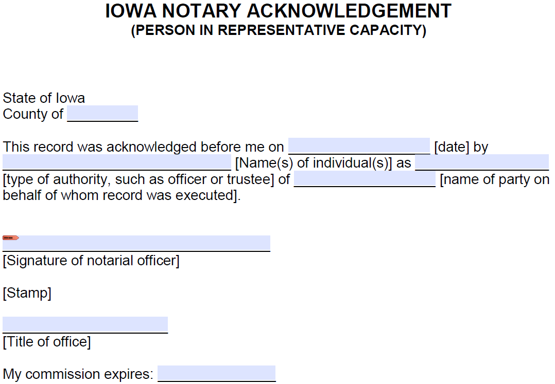 free iowa notary acknowledgement - representative - pdf
