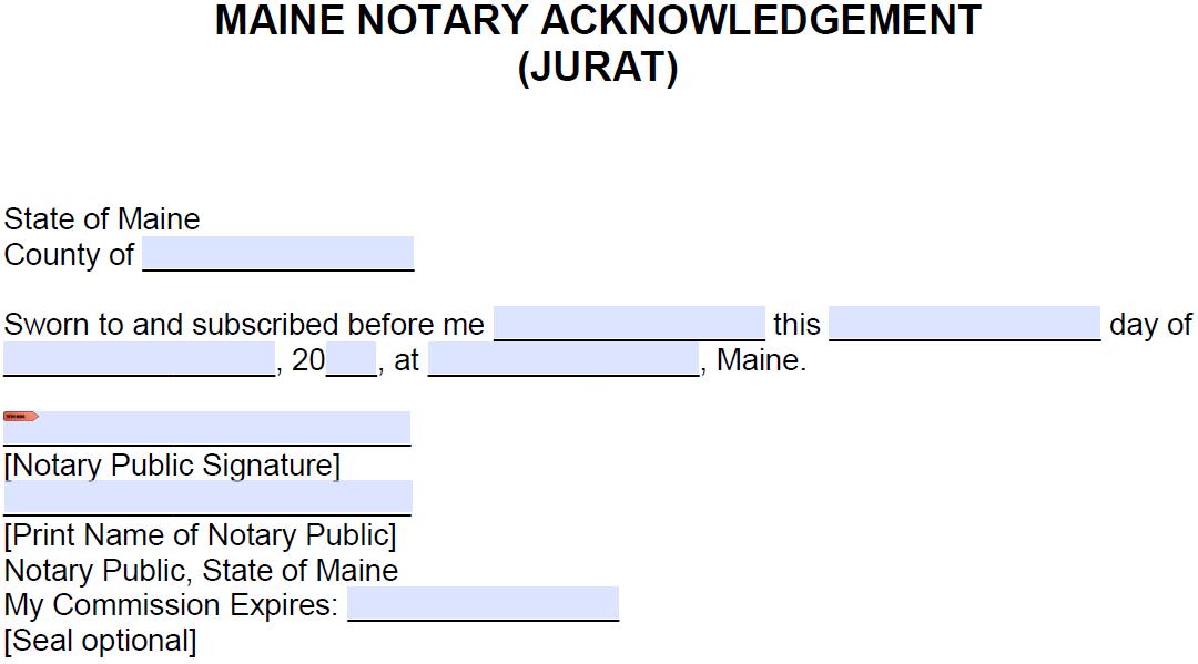 free maine notarial certificate - jurat - pdf
