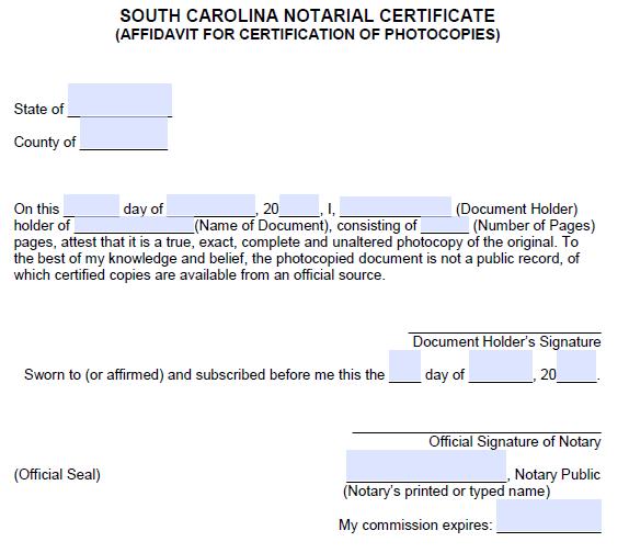 Free South Carolina Notarial Certificate