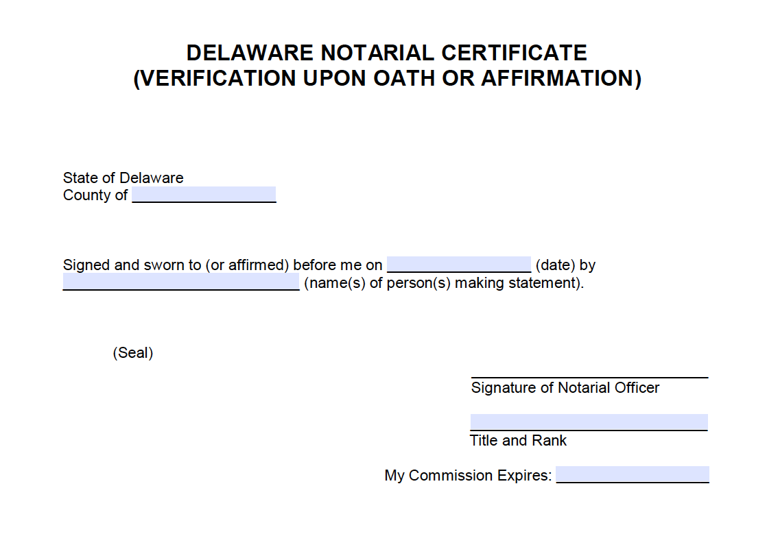 Free Delaware Notarial Certificate Verification Upon Oath Or