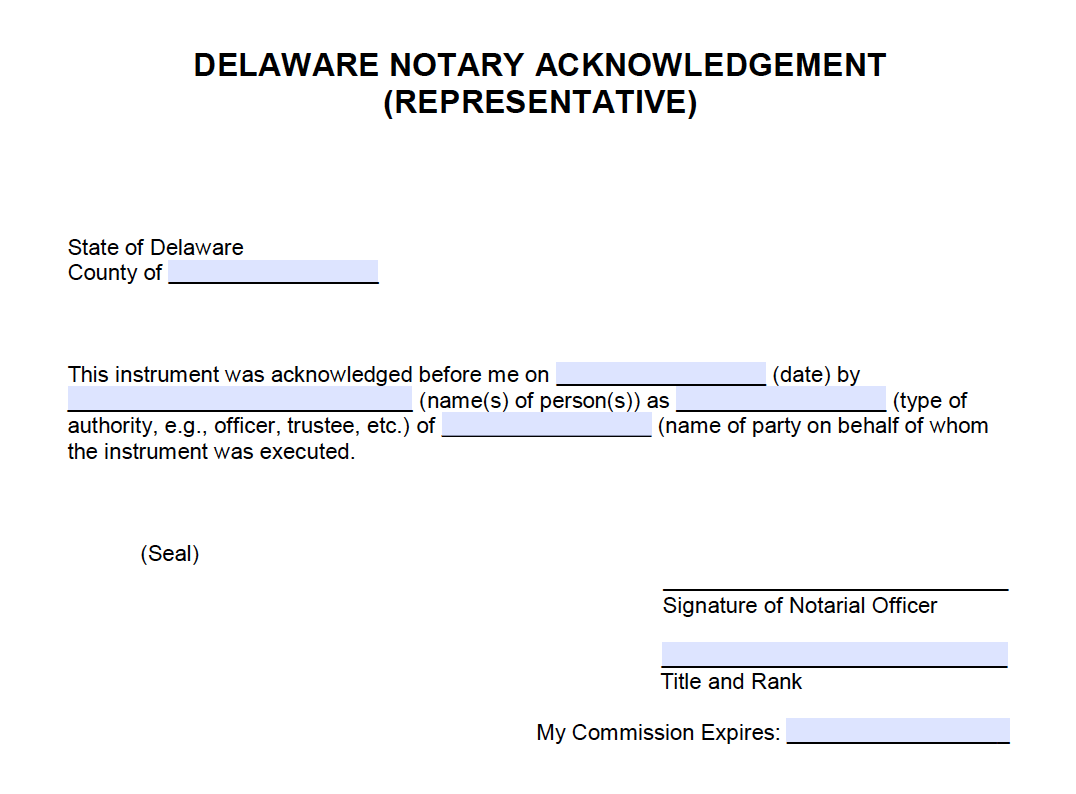 Free Delaware Notary Acknowledgement