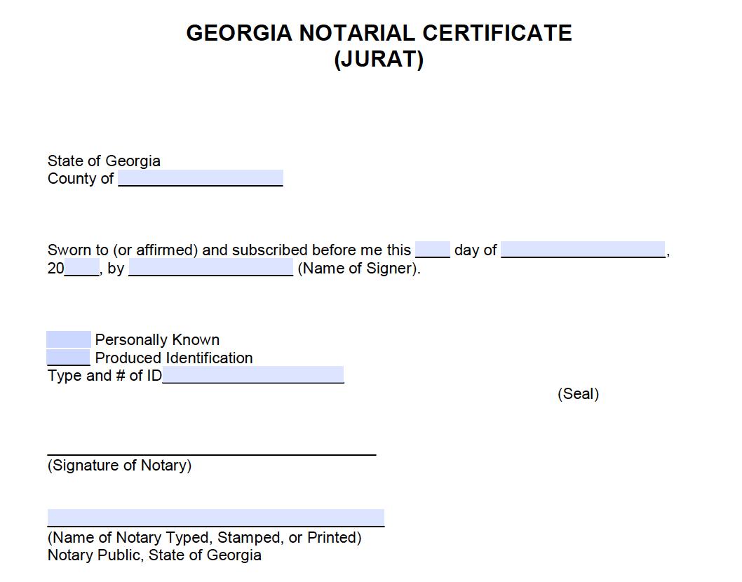 Free Georgia Notarial Acknowledgement Certificate Jurat Pdf Word