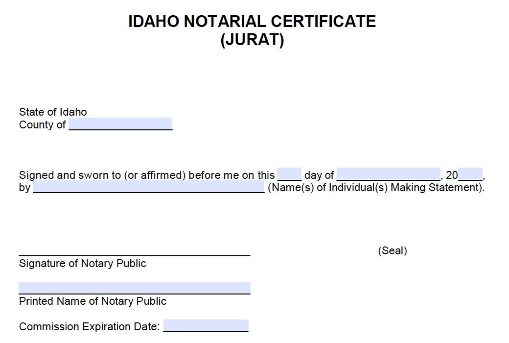 Free Idaho Notarial Certificate Jurat Pdf Word