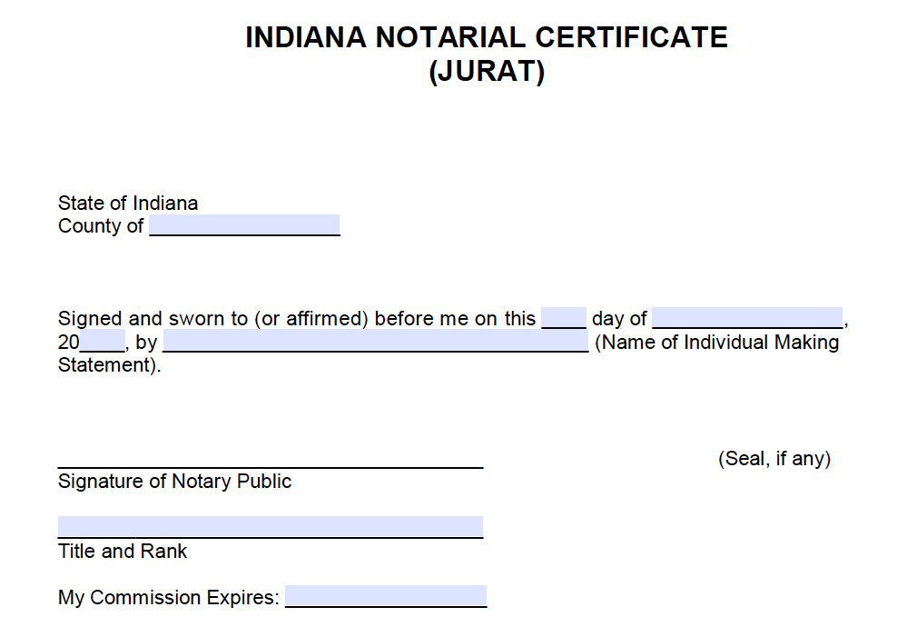 photo about Printable Notary Forms named Free of charge Indiana Notarial Certification - Jurat - PDF - Term