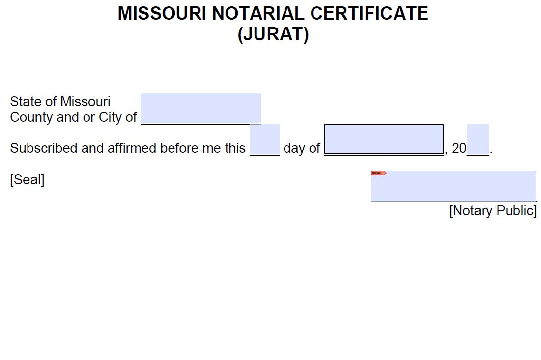 Free Missouri Notarial Certificate - Jurat - PDF - Word
