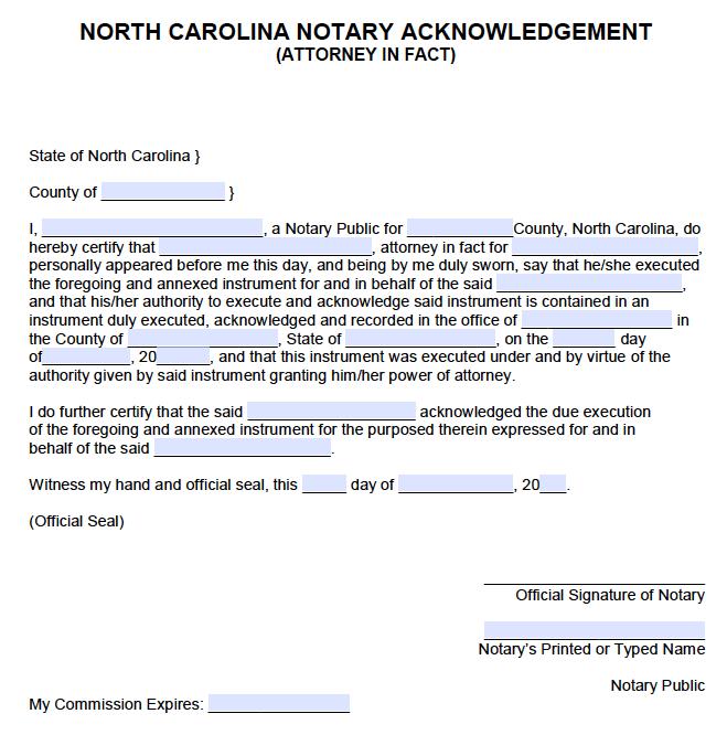 Free North Carolina Notary Acknowledgement