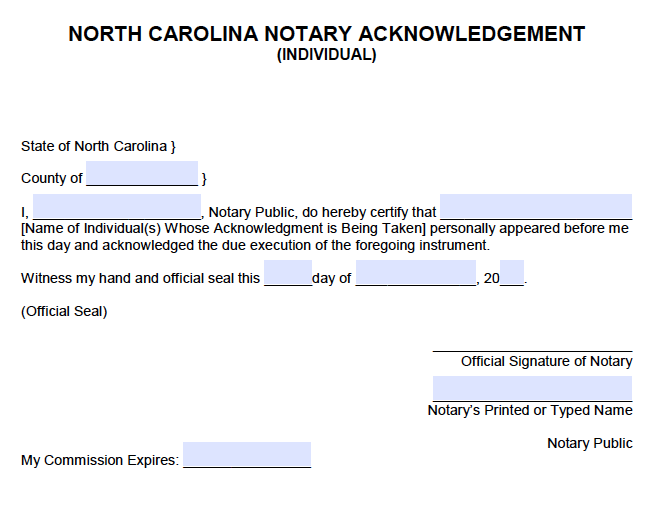 free north carolina individual notary acknowledgement