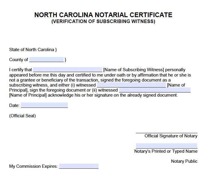 Free North Carolina Notarial Certificate