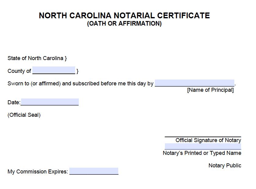 free north carolina notarial certificate  u2013 oath or