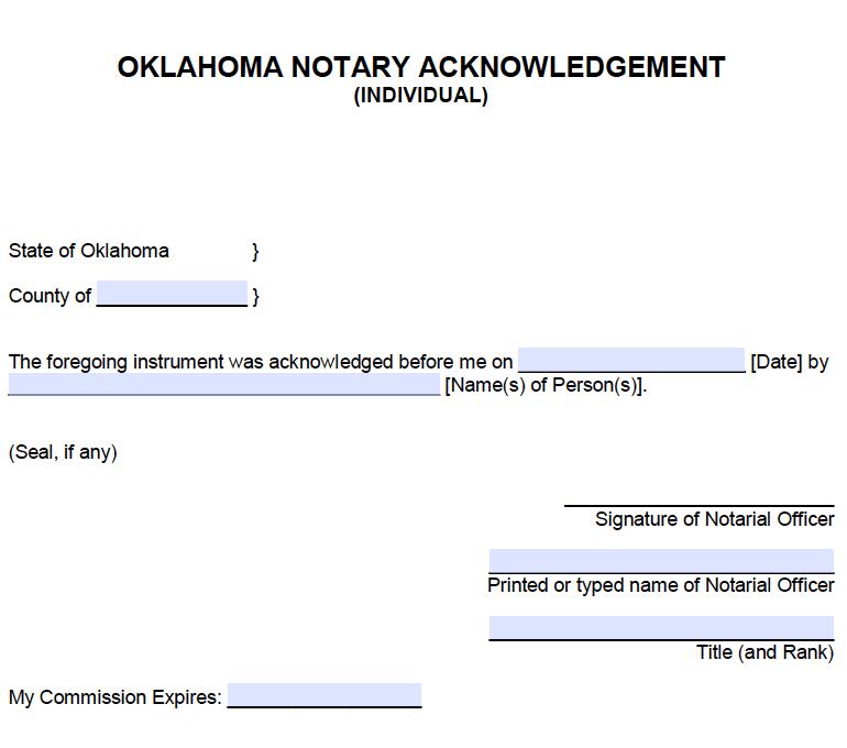 Free Oklahoma Individual Notary Acknowledgement Pdf Word