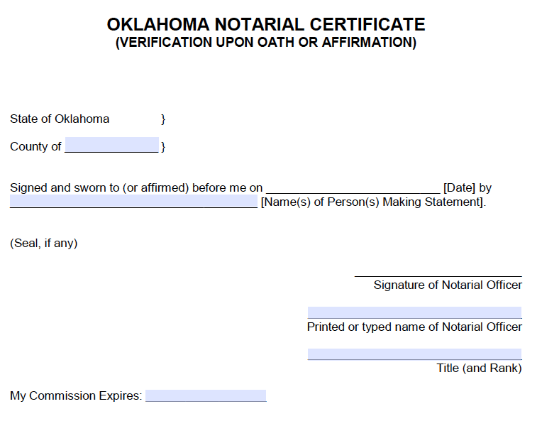 Free Oklahoma Notarial Certificate - Verification Upon ...
